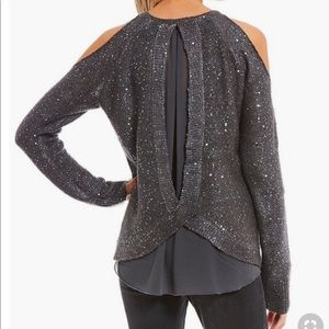 JESSICA SIMPSON Charcoal cold shoulder sweater -M